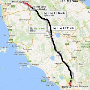 cartina percorso da pistoia a roma